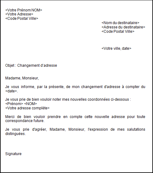 Lettre changement d 39 adresse d m nagement offic o - Comment obtenir un avocat commis d office ...